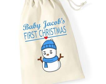 Personalised Snowman Hug 2 Babys First Christmas Santa Sack Reindeer Xmas Present Stocking Drawstring Keepsake Tumblr Pintrest