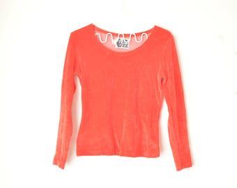red velvet plush long sleeves top shirt 90s // S-M
