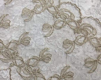 """Beautiful Metallic Embroidered Lace Tulle Trim  ( 7 1/2"""" Wide ) Embellishments, Vintage Gold, Sewing, Collages, Junk Journals, Scrapbooks"""