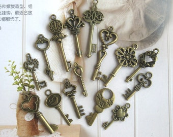 Metal Bronze Silver Keys Charms - Small Vintage Style Retro Key Necklace Bracelet Metal Charm 15's