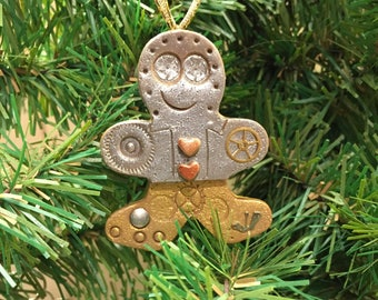 Holiday Ornament Steampunk Gingerbread Man -  Christmas Decor Ready to Ship Polymer Clay style 9