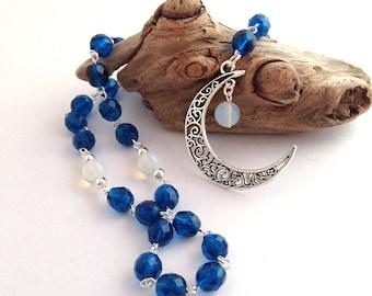 Dark Teal-Blue Lunar Rosary // Pagan Prayer Beads // Luna // Selene // Arianrhod // Moon Goddess // Wiccan