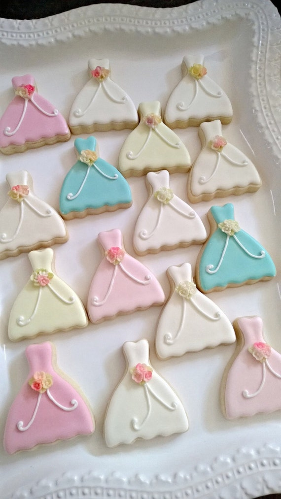 24 Petite Sized Dress Cookies- Cookie Favors, Wedding Cookies,  Bridal Shower Cookies, wedding gown cookies