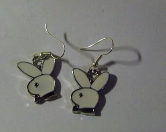 Dangle White Enamel Playboy Bunny Earrings  #759