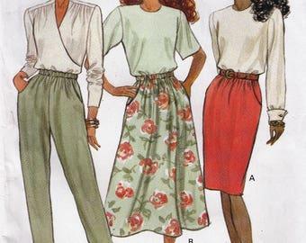 """Women's Sewing Pattern Butterick 5857 High Waist Skirt or Pants Size 12-14-16 Waist 226.5-28-30"""" Hip 336-38-40"""" Uncut"""