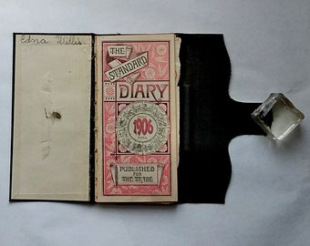 Old US Postal Stamps Mounted in 1906 Diary