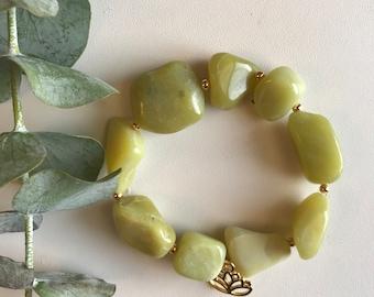 Jade, Lotus, Mala Bracelet, Yoga Bracelet, Gemstone Bracelet, Meditation Bracelet, Crystal Healing Jewelry, Spiritual Gift, Jade, Lotus