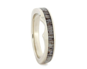 Antler Wedding Band, 14k White Gold Ring With Deer Antler Inlay, Custom Made Wedding Ring For Her