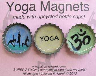 Perfect Yoga Gift - Yoga Magnets - Bottle Cap Magnets - Om Symbol - Packaged Gift Set of 3 - Yoga Gift