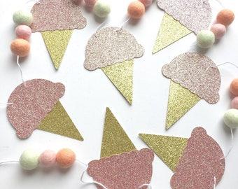 Ice Cream Garland | Glitter Ice Cream Banner | Felt Ball Garland | Ice Cream Party | Ice Cream Social | Party Decor | 1st Birthday | Summer