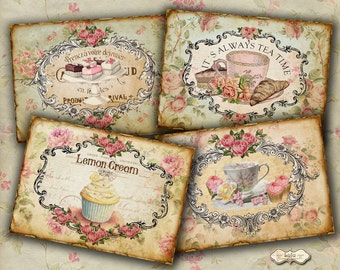 Patisserie - Digital Cards - Vintage Tags - Printable Cards - Paper Goods - Scrapbook Paper - Digital Collage Sheet