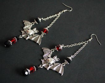 Black and red Crystal flying bat earrings