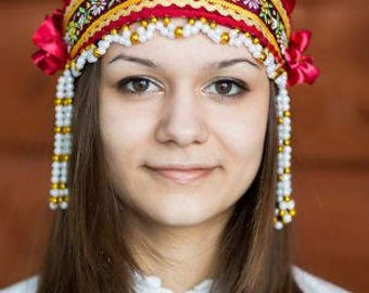 "Headdress Kokoshnik ""Inna"" - Russian traditional Folk Costume"