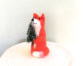 Needle felted Fox Christmas decorations Fox with Christmas tree handmade unique felting red fox one of a kind wool felt green funny cute