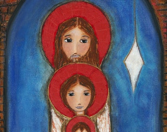Holy Star Nativity -  Giclee print mounted on Wood (4 x 5 inches) Folk Art  by FLOR LARIOS