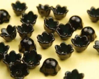 10 Piece Vintage Black Lucite Flower Beads