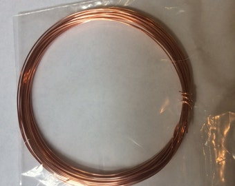 Copper Wire 18ga Round Dead Soft 25 Feet - Good size for Ear Wires Jewelry making Supplies Wire Wrapping - WIR-650.18