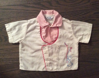 Vintage Baby Boy Top by Good Lad with Embroidered Bear Holding Balloons
