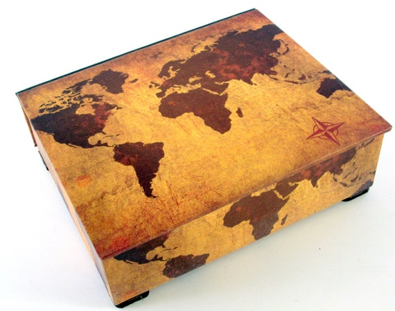 Decorative box world map on vintage leather look desk gumiabroncs Image collections