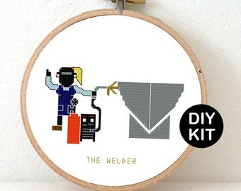 Welder Cross Stitch Kit. DIY kit with our Welder pattern includes golden metallic embroidery floss, fabric and hoop