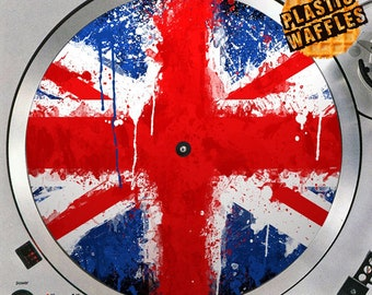 British Flag Union Jack #2 Watercolor 12 inch Slipmat Turntable Vinyl Audiophile DJ DJing 16 oz. x1