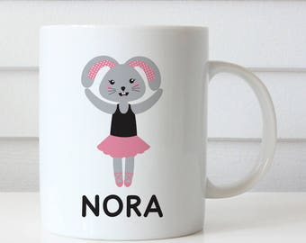 Bunny Ballerina Cup - Personalized Mug for Kids - Custom Made with Child's Name - Ballet Dancer Rabbit (Plastic)