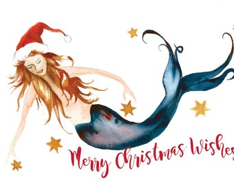 Mermaid Holiday Card by Dotty Reiman  - Mermaid art inside