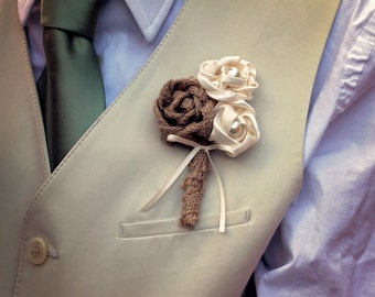 Burlap Boutonniere | Rustic Boutonniere | Groom Boutonniere | Fabric Groom Boutonniere | Wedding Boutonniere | Rustic Wedding | Country