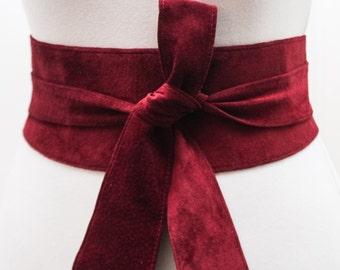 Dark Red Suede Tulip tie Obi Belt | Waist corset Belt | Suede Tie Belt | Real Suede Leather Belt| Red Belt | Plus size belts