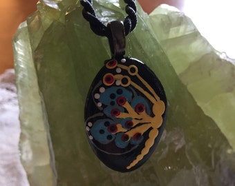 Hand painted Lake Superior Butterfly Necklace with black cord