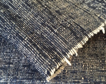 Japanese Indigo AIZOME Cotton and Paper WASHI woven fabric piece RARE