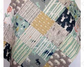 Baby Quilt, Gender Neutral Baby Quilt, Woodland Blanket, Baby Bedding, Moose Quilt, Navy Gray Nursery, Woodland Crib Bedding, In The Woods