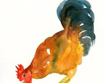 ROOSTER-8x10 inch print-Art Print-animal Watercolor Print-nursery decor-children art-home decor