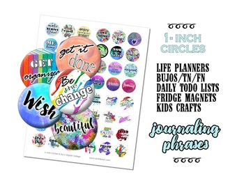 1-Inch Planner Circles / 48 Printable Stickers / Motivational Phrases / Journaling Prompts / Bottlecaps / For EC FN TN Happy Planner Bujo