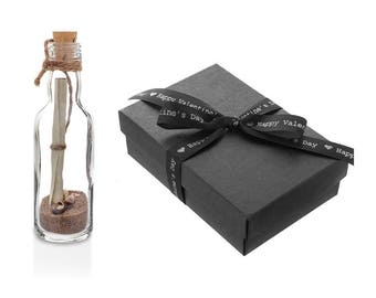 Personalised Valentines Gift | Message in a Bottle with Box | Romantic Him Her
