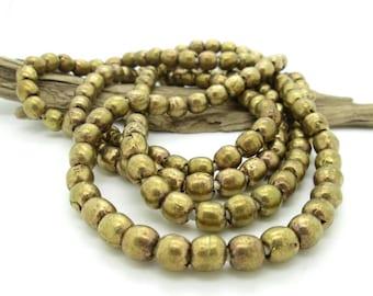 African Brass Round Spacer Bead, Tribal Brass Bead, Ethnic Gold Bead, 8mm Brass Bead (20)