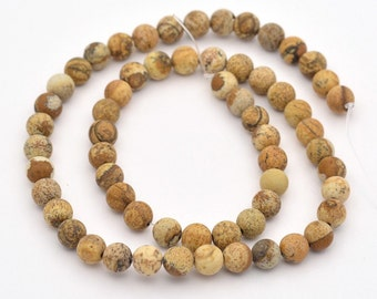 8mm Picture Jasper Stone Rounds 15 Inch Strand 47 Beads Gemstone Jasper Natural 8mm Jasper Rounds. Light Brown Stone Mottled