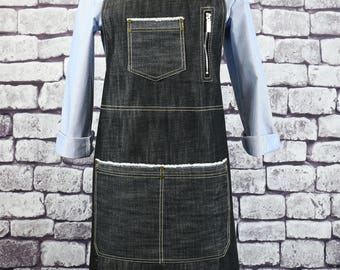 Barista Black Denim Apron / Bartender Apron / Denim Bib Apron / Jeans Apron / BBQ Apron / Apron for women / Apron for men - U331S