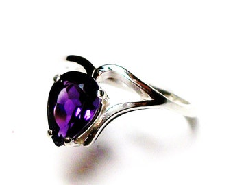 "Amethyst, amethyst ring, birthstone ring, solitaire ring, purple ring, purple, purple pear, s 6 1/2   ""Heart Strings"""
