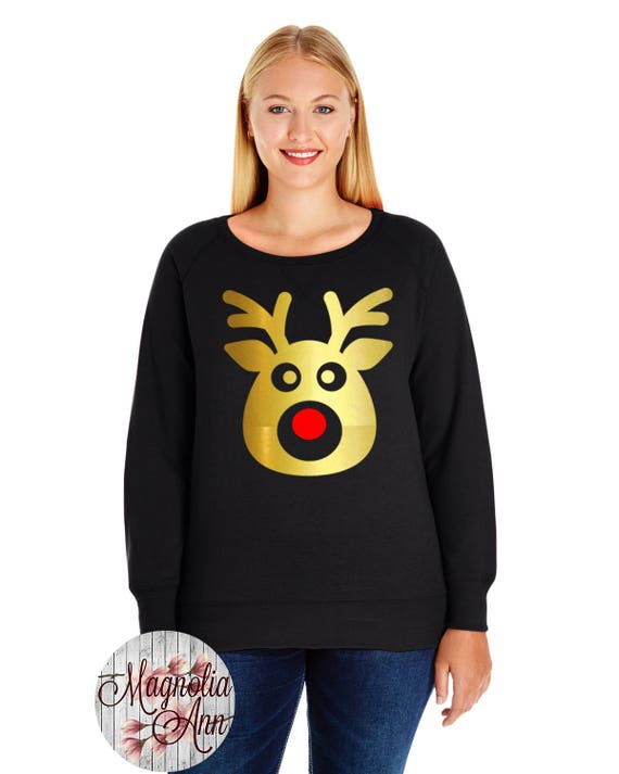 Rudolph the Red Nose Reindeer Slouchy French Terry Pullover Sweatshirt, Small-4X, Plus Size Clothing, Christmas Shirt, Christmas Sweater