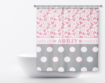 Personalized Shower Curtain For Kids - Polka Dot Shower Curtain - Heart Shower Curtain - Girls Custom Shower Curtain  - Name Shower Curtain