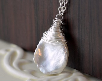Keshi Freshwater Pearl Necklace, Keishi, Simple Summer Jewelry, Wire Wrapped, Sterling Silver, Free Shipping