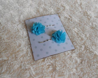 Hair clips with organza flowers