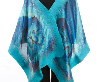 Wool and Silk Scarf, Nuno Felted, Shawl, Wrap, Butterfly Series