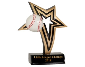 Infinity Star Baseball Resin Award - 2 Sizes Available - Free Engraving