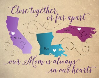 Gift for Mom, Long Distance Map Mom, Personalized Mother's Day Gift, Mother's Day Gift for Mom, Long Distance Map for Mom