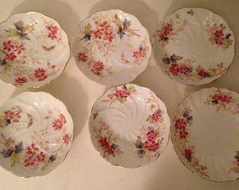 Antique 1912-1926 English porcelain by Adderley plates- 6 plates-fine porcelain-Rare design