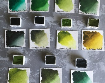 Watercolor Hand Poured Half Pans - Daniel Smith Extra Fine Watercolors - Greens