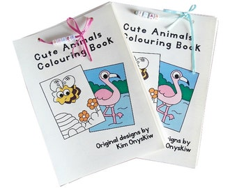 Personalised Cute Animals Children's Colouring Book, with name in beads - 20 pages - handmade book with removable sheets