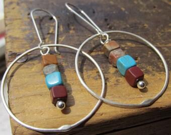 Summer Solstice • SS Hoop earrings • colored stone cubes • hammered Sterling Silver hoops • metalwork earrings • hippie • boho • hoops
